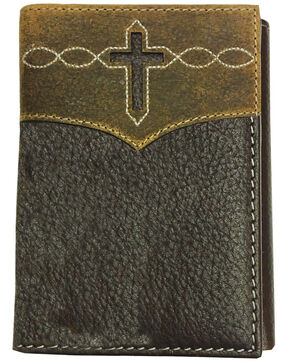 Roper Men's Brown Cut-Out Cross Tri-Fold Leather Wallet , Brown, hi-res