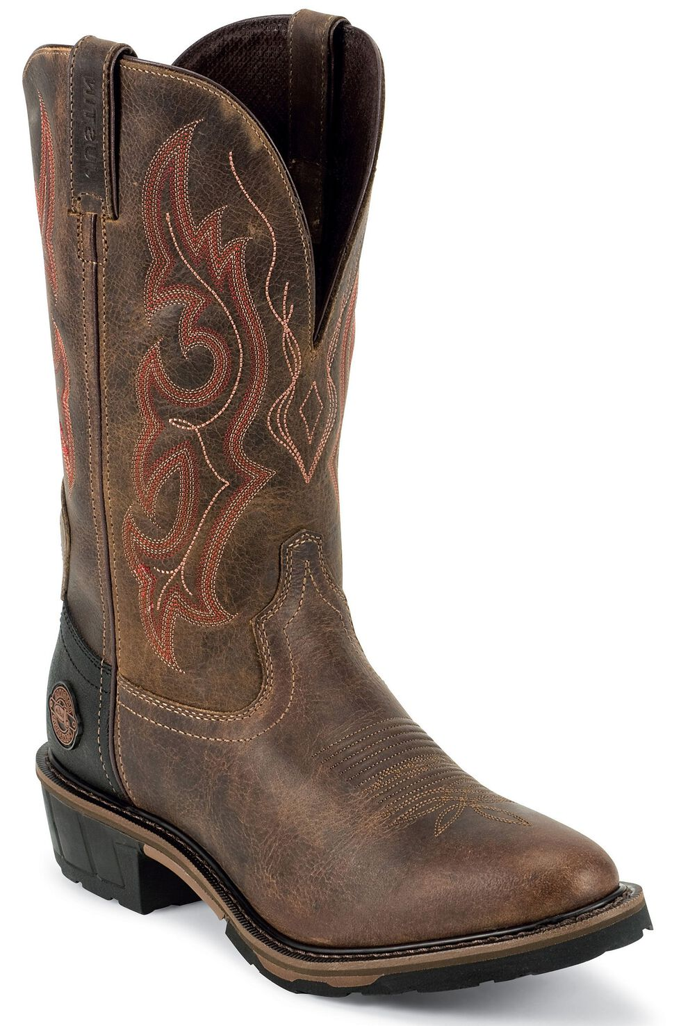 Justin Men's Hybred Cochise Waterproof Western Work Boots - Soft Toe, Brown, hi-res