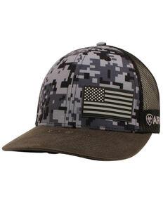 Ariat Men's Digi Camo Offset Flag Patch Mesh-Back Ball Cap , Camouflage, hi-res
