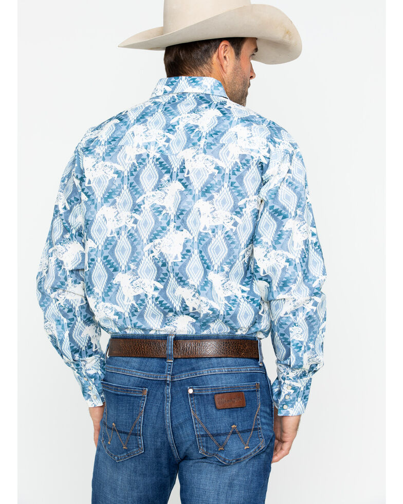 Wrangler Men's Checotah Horse Print Dress Shirt , Blue, hi-res
