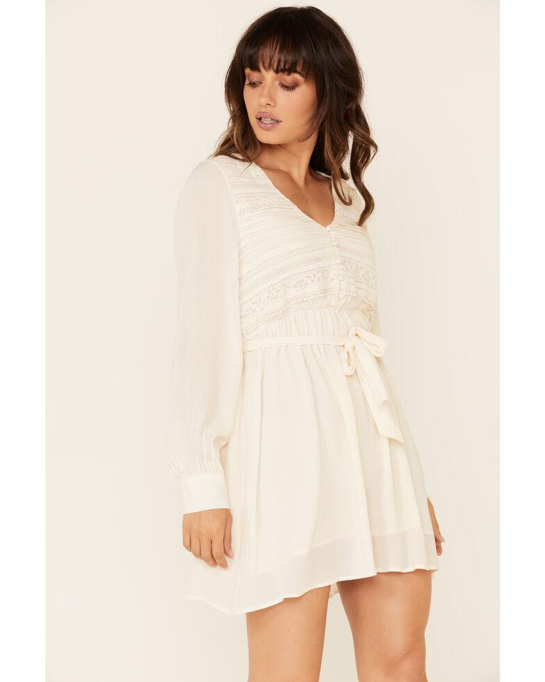 Coco + Jaimeson Women's Ivory Lace Inset Dress, Ivory, hi-res