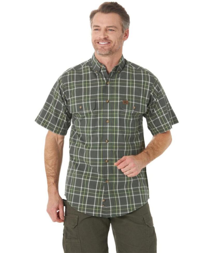 Wrangler Riggs Men's Green Foreman Plaid Short Sleeve Button-Down Work Shirt - Big , Green, hi-res