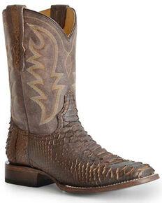 Roper Men's Brown Python Western Boots - Wide Square Toe, Brown, hi-res