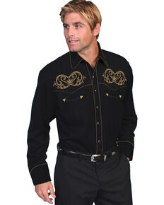 Scully Embroidered Star Scroll Shirt, Black, hi-res