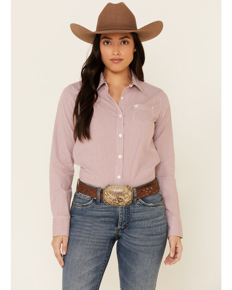 Ariat Women's Crimson Jack Striped Kirby Stretch Long Sleeve Western Core Shirt , Red, hi-res