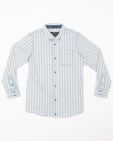 acce9a507 Cody James Boys Galena Print One Pocket Long Sleeve Western Shirt , Blue,  hi-