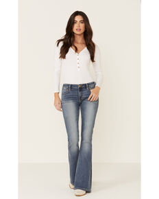 Rock & Roll Denim Women's Flare Leg Jeans, Blue, hi-res