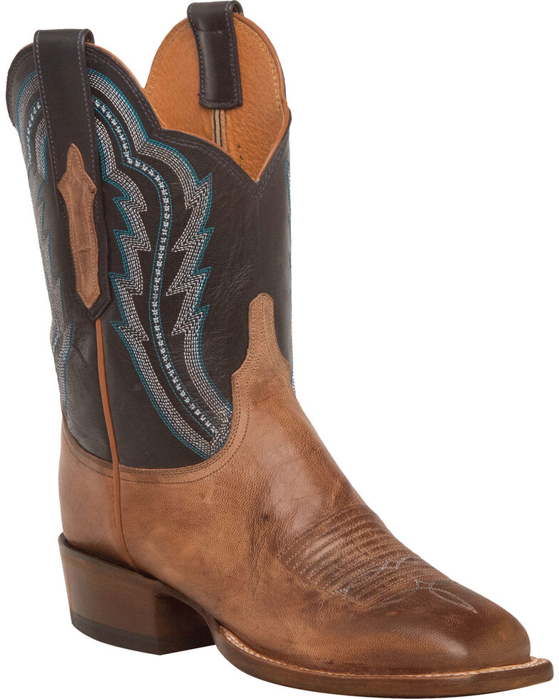 Lucchese Women's Daisy Goat Leather Horseman Western Boots - Square Toe, Tan, hi-res