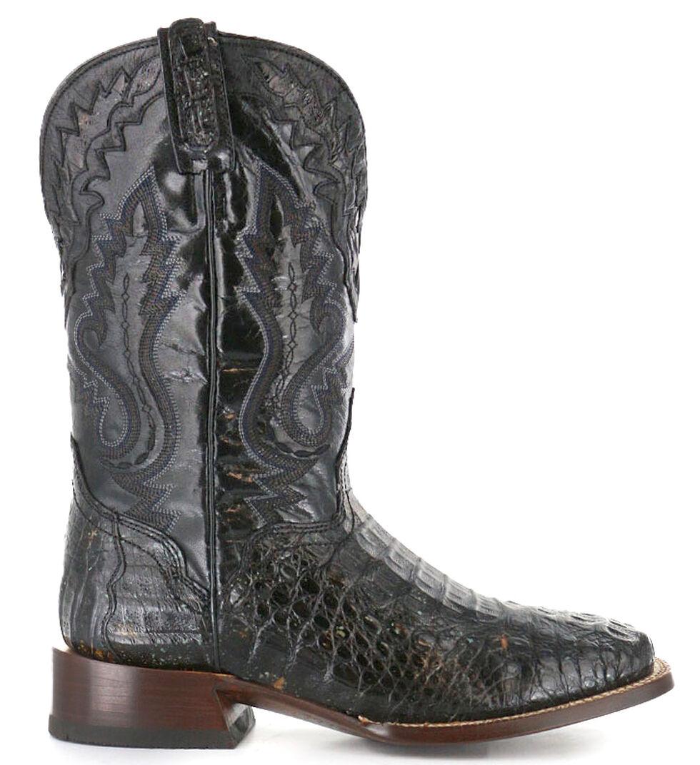 El Dorado Handmade Caiman Cowboy Boots - Wide Square Toe, Black, hi-res