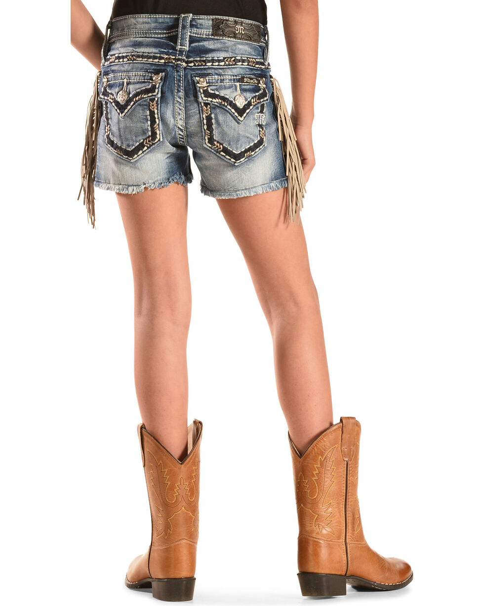 Miss Me Girls' Fringe Cut-Off Denim Shorts, Denim, hi-res
