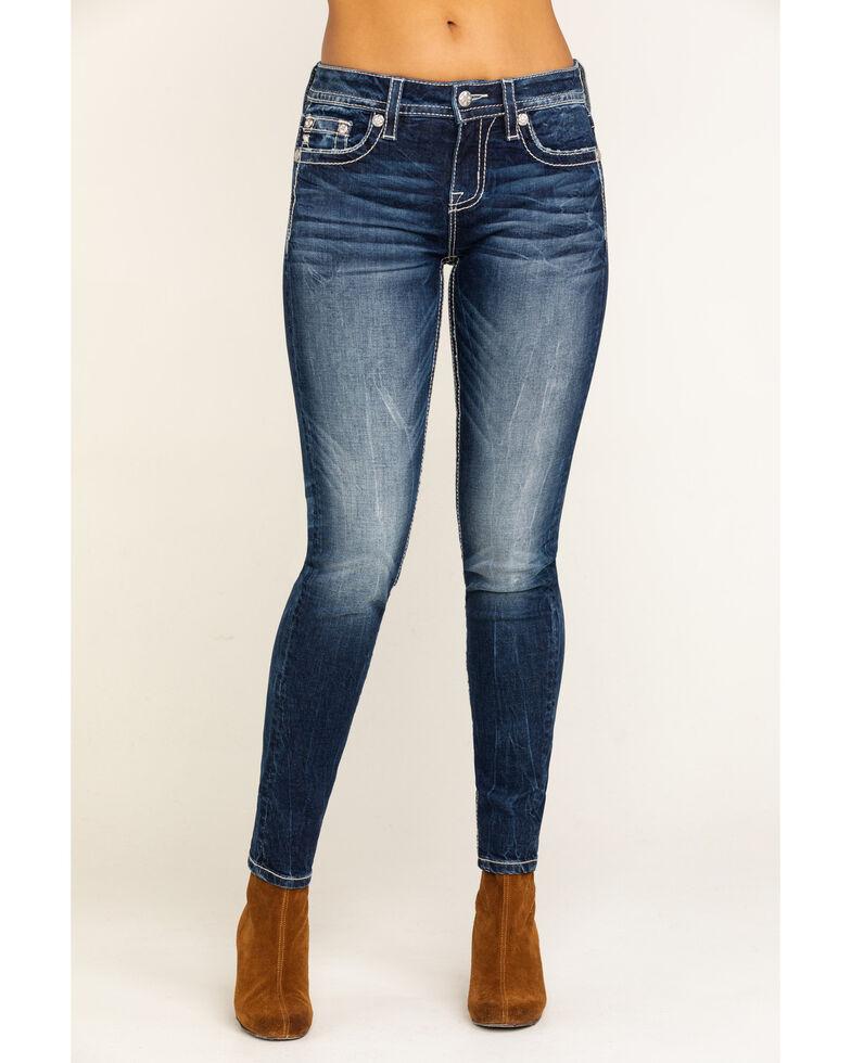 Miss Me Women's 2 Tone Medium Wash Western Skinny Jeans, Blue, hi-res