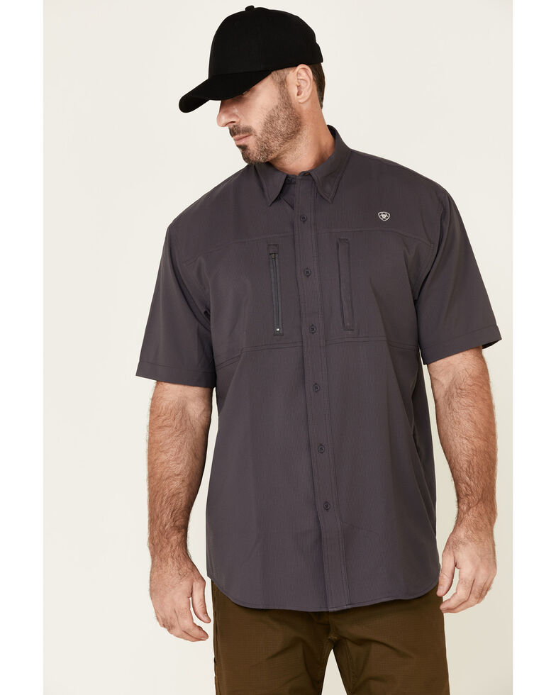 Ariat Men's Charcoal VentTek Solid Short Sleeve Western Shirt , Charcoal, hi-res