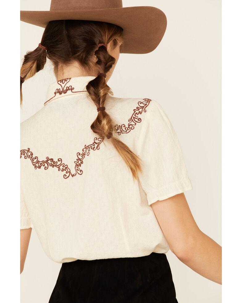 Double D Ranch Women's Cream Charro Rider Short Sleeve Top, Cream, hi-res