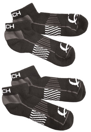 Cinch Men's Black Athletic Ankle Socks (2-Pack), Black, hi-res