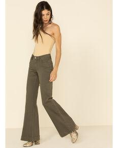 Shyanne Women's Olive Seamed Flare Jeans, Olive, hi-res