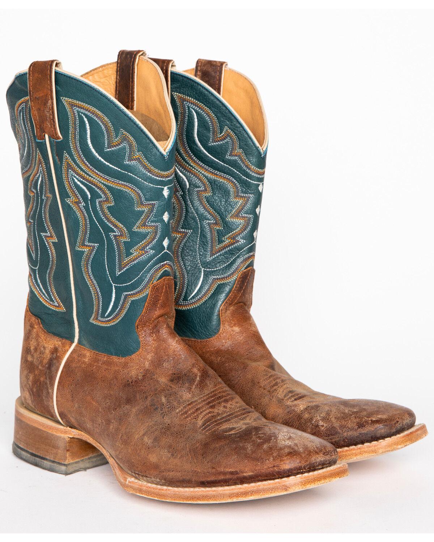Blue Cowboy Boots - Wide Square Toe