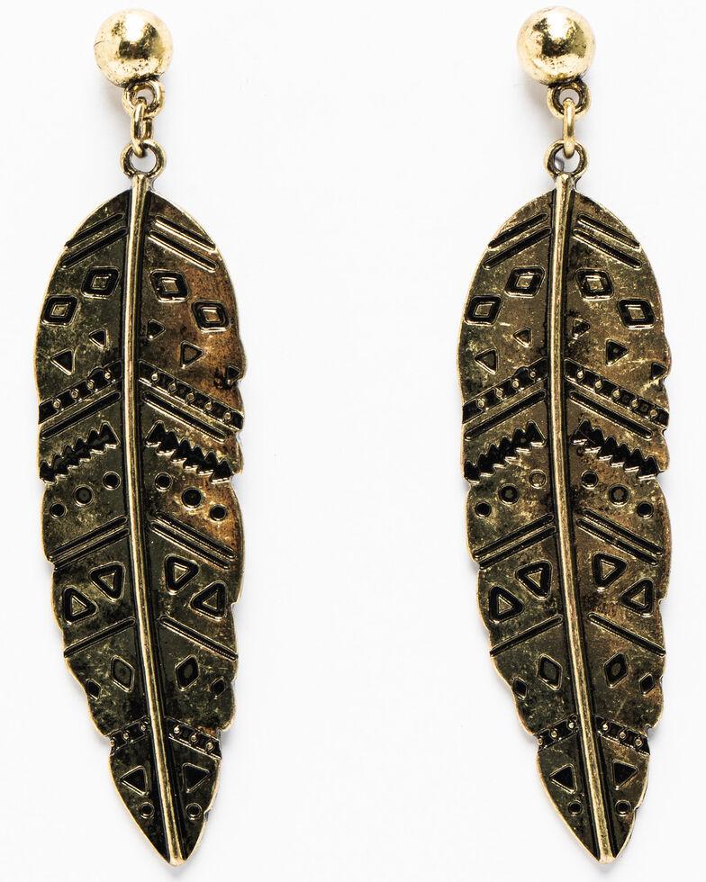 Shyanne Women's Summer Escape Plain Jane Copper Feather Earrings, Tan/copper, hi-res