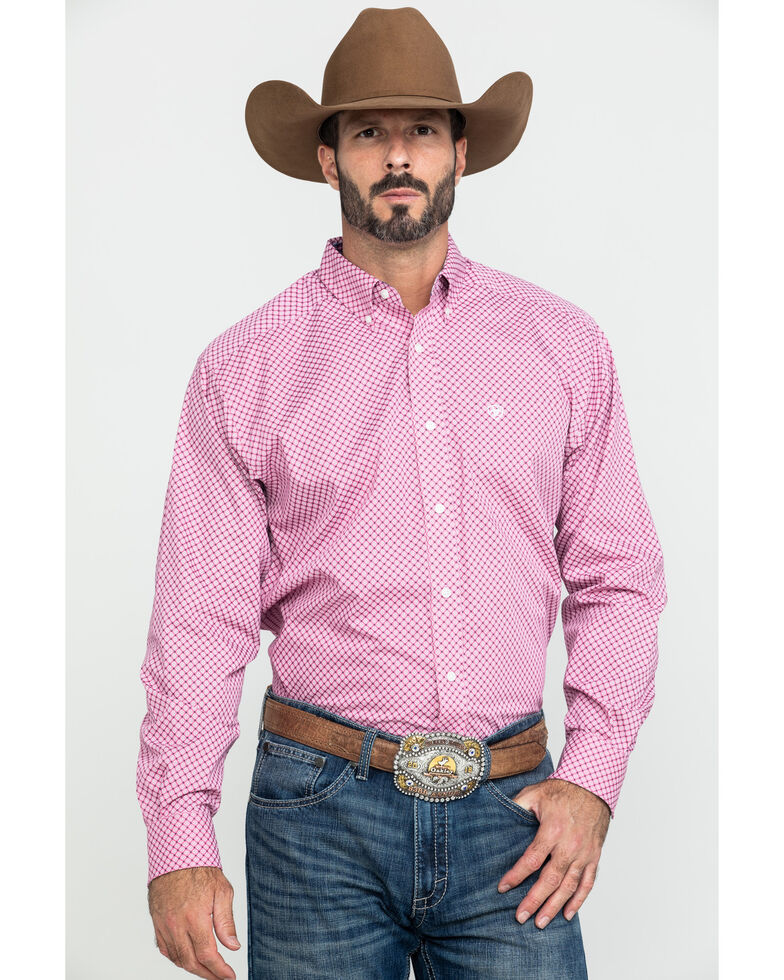 Ariat Men's Wrinkle Free Ipman Small Geo Print Long Sleeve Western Shirt - Big , Pink, hi-res