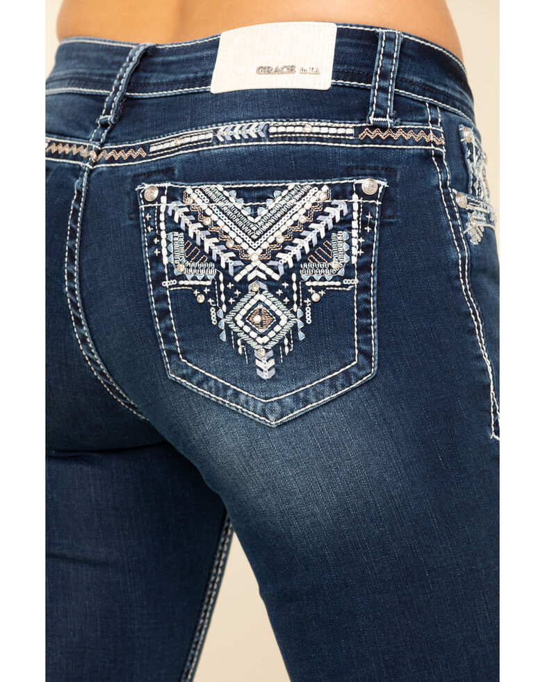 Grace in LA Women's Tribal Bootcut Jeans, Blue, hi-res
