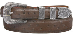 Lucchese Men's Sienna Full Quill Ostrich Leather Belt, Sienna, hi-res