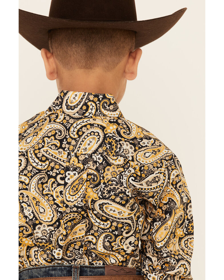 Cinch Toddler Boys' Navy Paisley Print Button Long Sleeve Western Shirt , Navy, hi-res