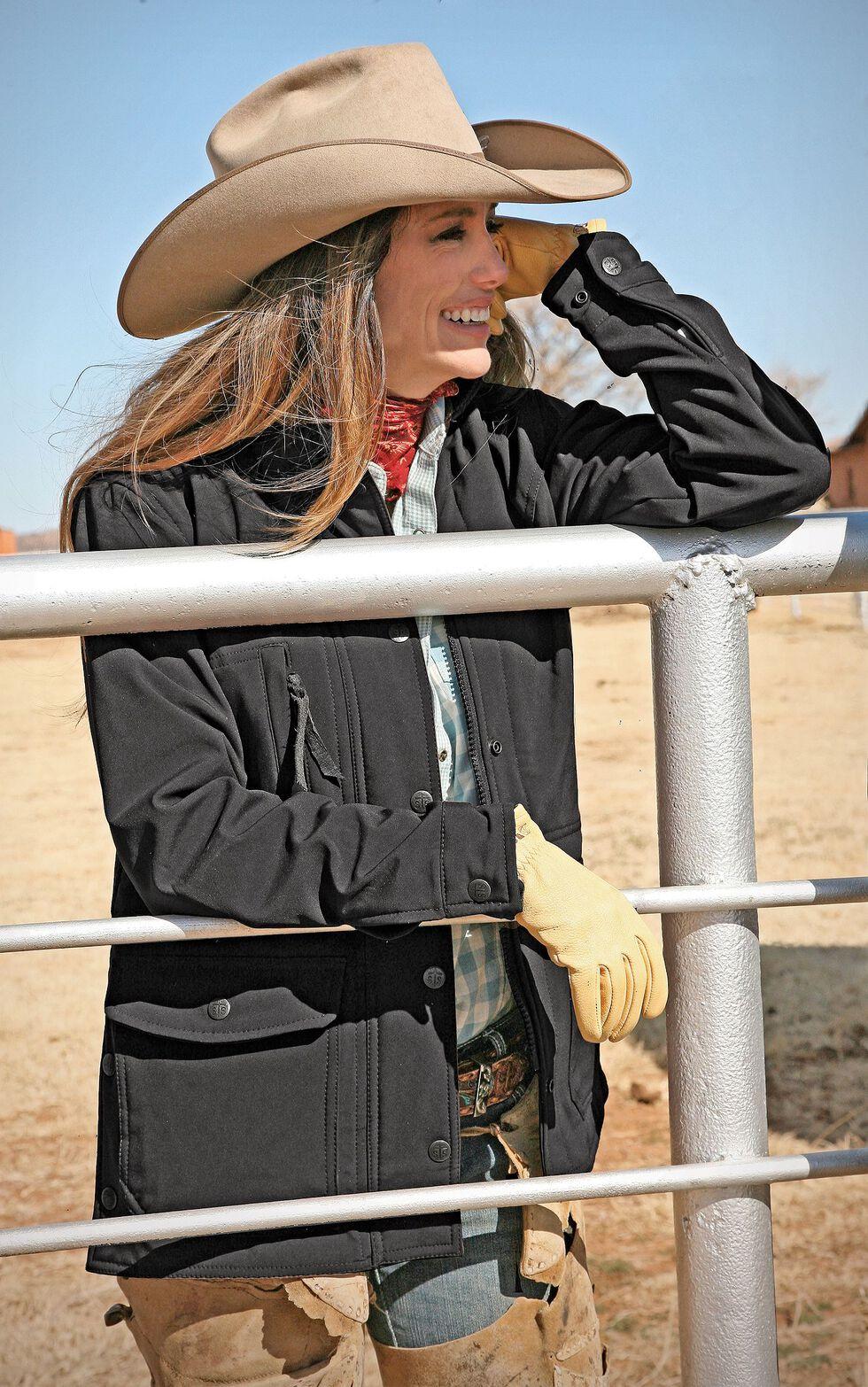 STS Ranchwear Women's Brazos Softshell Black Barn Jacket, Black, hi-res