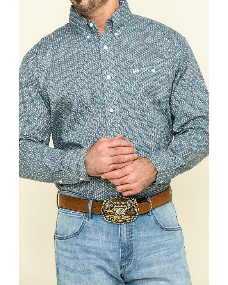 Wrangler Men's Classic Teal Geo Print Button Long Sleeve Western Shirt , Teal, hi-res