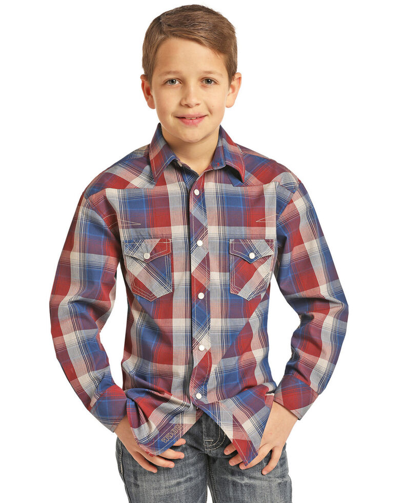 Rock & Roll Denim Boys' Red Yarn Dye Plaid Long Sleeve Western Shirt , Red, hi-res