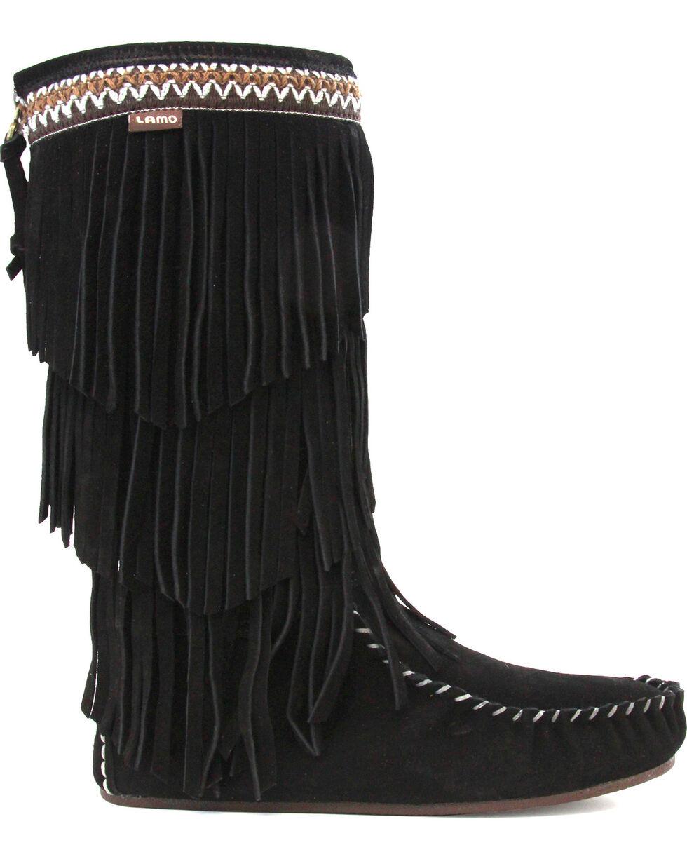 Lamo Women's Virginia Fringe Moccasin Boots  , Black, hi-res