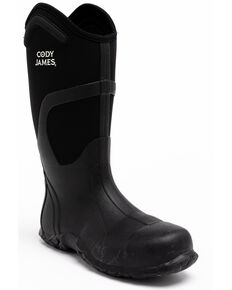 Cody James Men's Rubber Waterproof Western Work Boots - Composite Toe, Black, hi-res