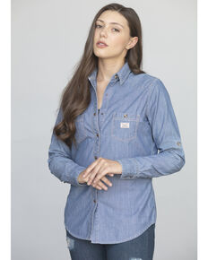 Kimes Ranch Women's Candy Chambray Long Sleeve Western Shirt , Indigo, hi-res