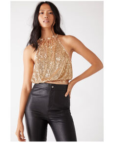 Free People Women's Lights Out Sequins Halter Top , Multi, hi-res
