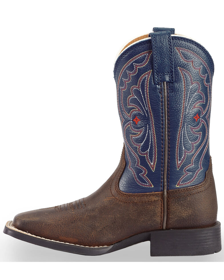 Ariat Youth Boys' Royal Blue Quickdraw Cowboy Boots - Square Toe, Brown, hi-res