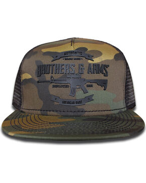 Brothers & Arms Men's Black Rubber Logo Camo Trucker Cap, Black, hi-res
