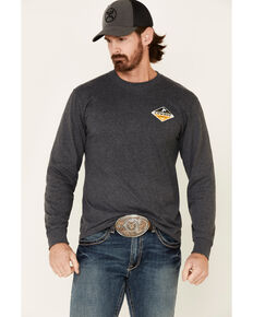 Cowboy Hardware Men's Charcoal Built Tough Graphic Long Sleeve T-Shirt , Grey, hi-res