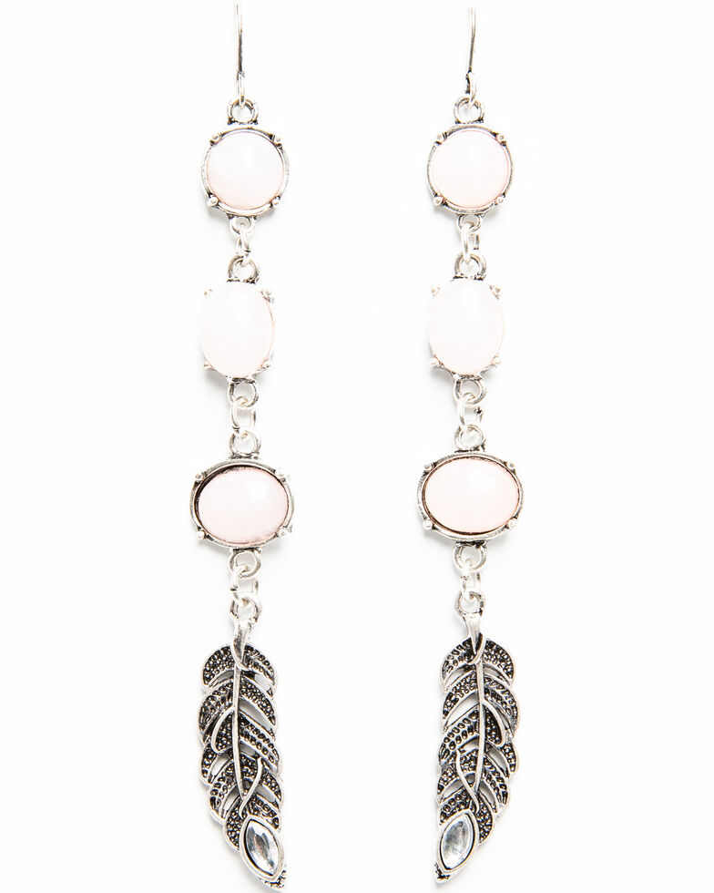 Shyanne Women's Moonlit Beaded Feather Earring , Silver, hi-res
