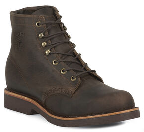 "Chippewa 6"" Lace-Up Work Boots - Steel Toe, Chocolate, hi-res"