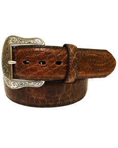 Roper Men's Cognac Crocodile Print Leather Belt , Cognac, hi-res