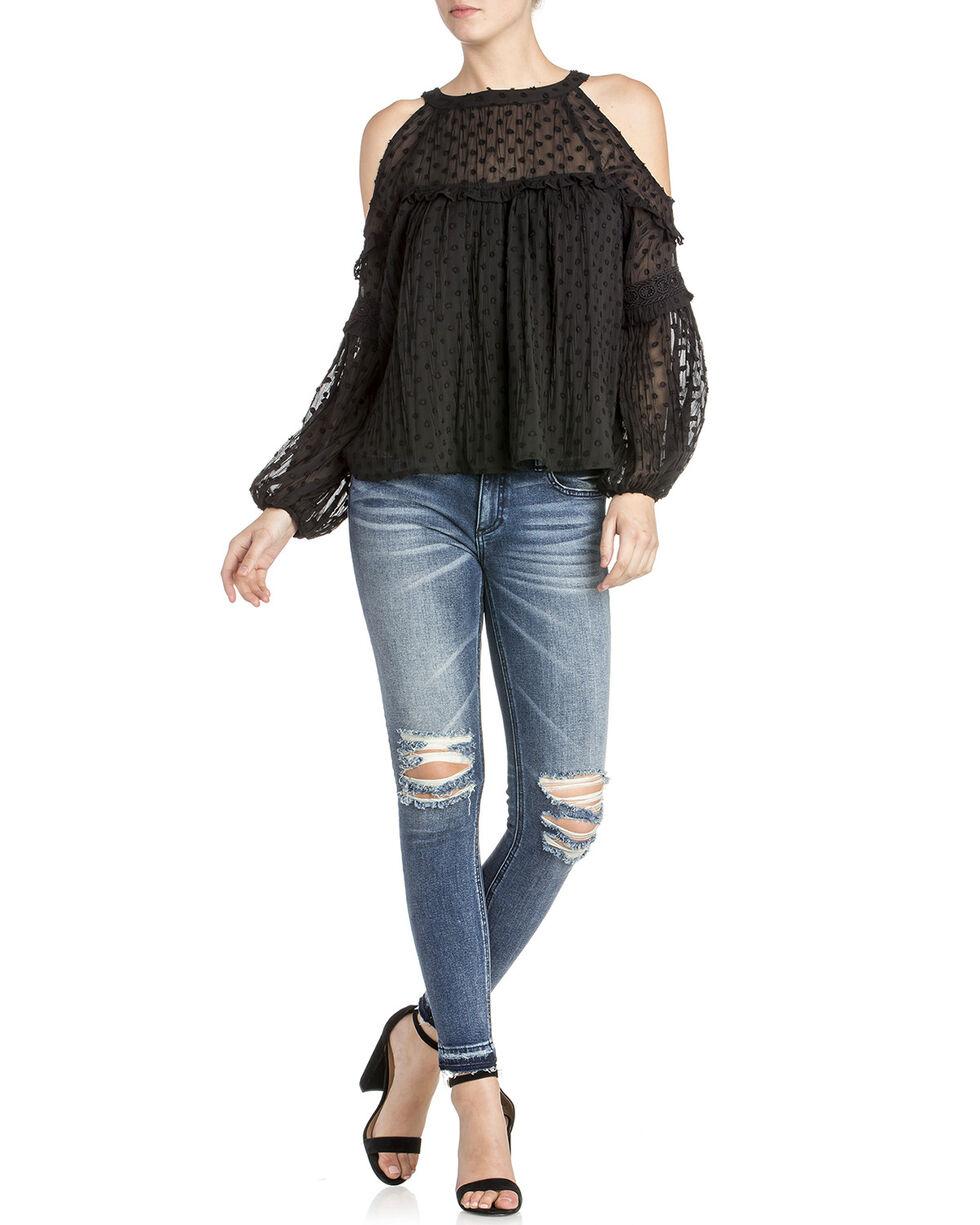 Miss Me Women's Jacquard Dot Top , Black, hi-res