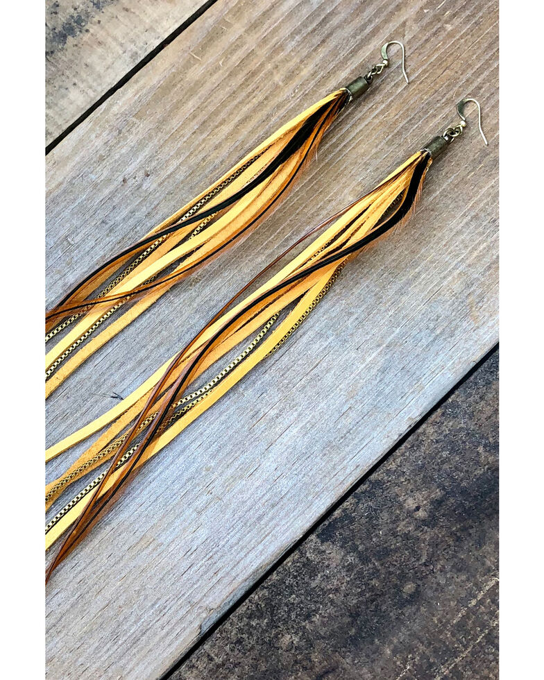 Astali Women's Gold Leather & Feather Long Earrings, Gold, hi-res