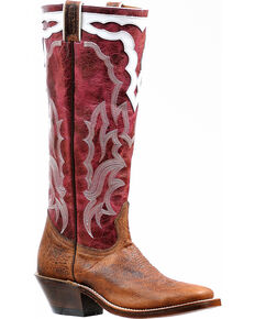 "Boulet Women's 16"" Faraon Magenta Horseman Tall Cowgirl Boots - Square Toe, Brown, hi-res"