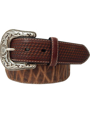 Roper Men's Top Grain Leather Belt with Bark Design , Brown, hi-res