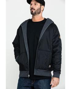 Ariat Men's Charcoal Rebar Cold Weather Reversible Zip-Front Work Hooded Sweatshirt, Charcoal, hi-res