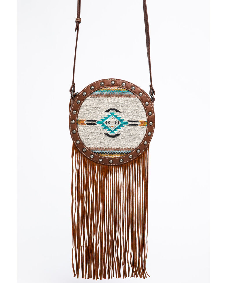 Shyanne Women's Aztec Serape Circle Fringe Bag, Brown, hi-res