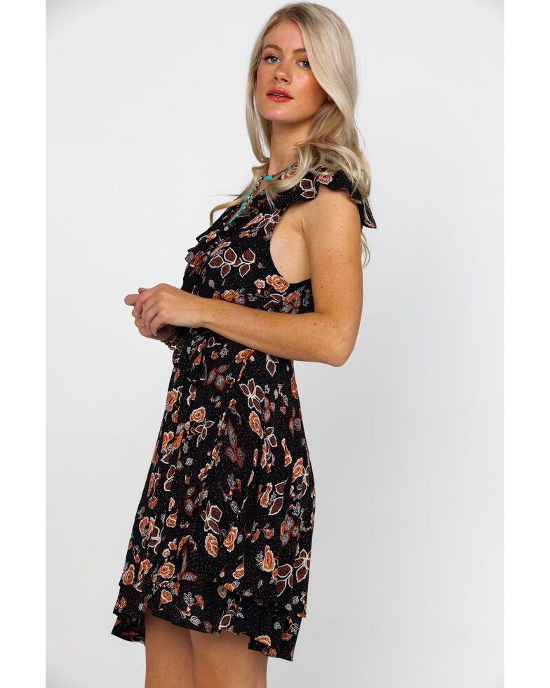 Rock & Roll Cowgirl Women's Floral Print Sleeveless Wrap Dress , Black, hi-res