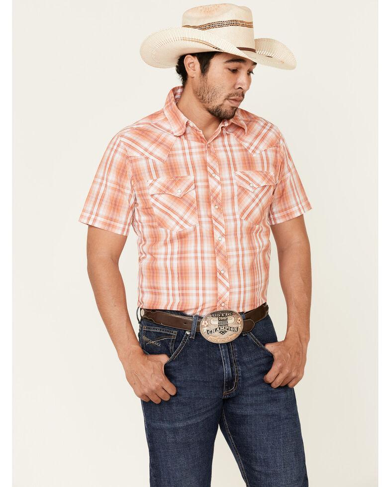 Wrangler Men's Orange Small Plaid Fashion Snap Short Sleeve Western Shirt , Orange, hi-res