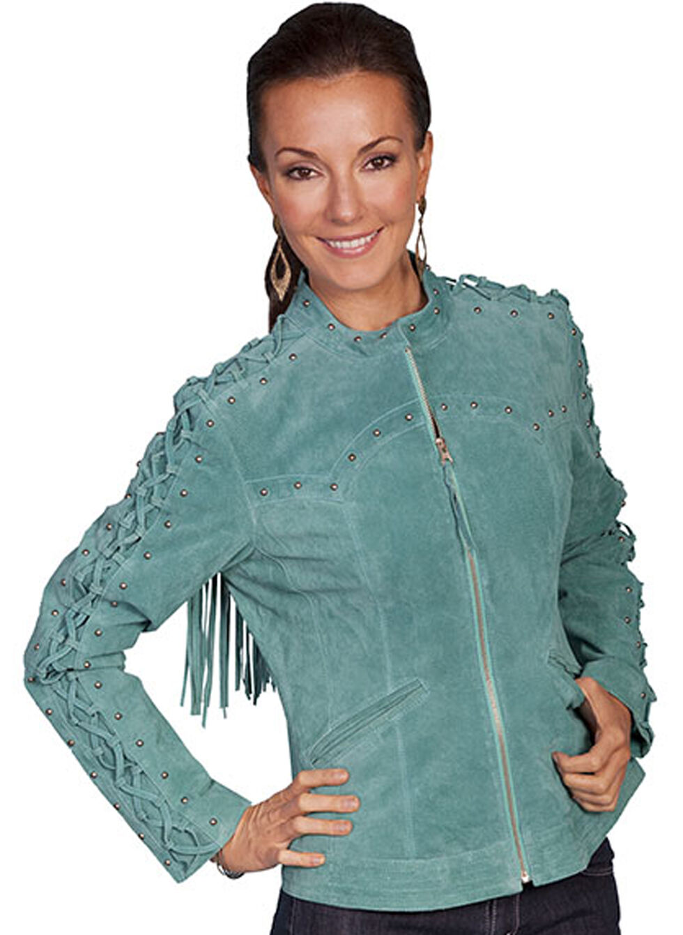 Scully Lace Up Sleeve Leather Jacket, Turquoise, hi-res