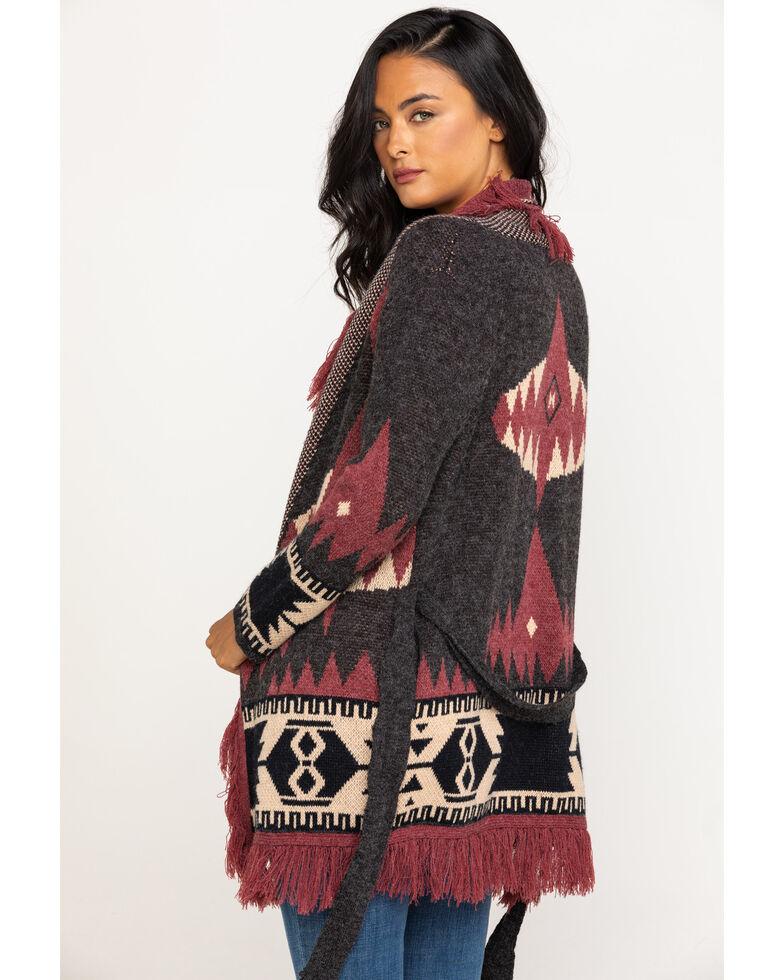 Miss Me Women's Burgundy Aztec Belted Fringe Cardigan , Charcoal, hi-res