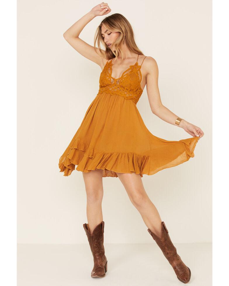 Free People Women's Adella Slip Dress, Dark Yellow, hi-res