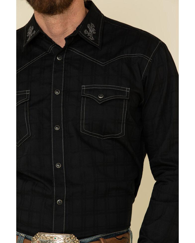 Rock 47 By Wrangler Men's Black Embroidered Solid Long Sleeve Western Shirt , Black, hi-res
